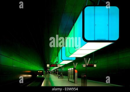 Light installation in the U-Bahn HafenCity Universität subway station, U4 subway line, HafenCity, Hamburg, Germany - Stock Photo