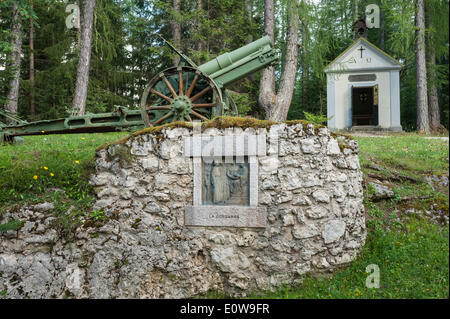 Memorial to the Fallen of World War I, Station of the Cross, chapel and cannon, Ossuary of Pocol or Sacrario Militare - Stock Photo
