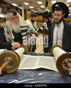 Reading from a Torah scroll at morning services at Lubavitch headquarters in Crown Heights, Brooklyn, New York. - Stock Photo