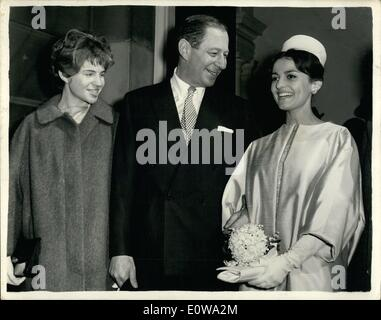 Mar. 03, 1962 - Labor MP Marries Iraqi Heiress Harold Lever, 48, Labour MP for Manchester's Cheetham Division, married - Stock Photo
