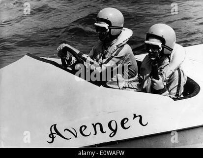Actress Daliah Lavi rides boat in film scene - Stock Photo