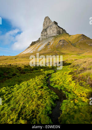 Alkhornet mountain, Trygghamna bay, Isfjorden fjord, Spitsbergen, Svalbard Islands, Svalbard and Jan Mayen, Norway - Stock Photo