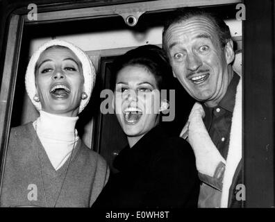 Stars of 'The Pink Panther' on the way to begin filming - Stock Photo