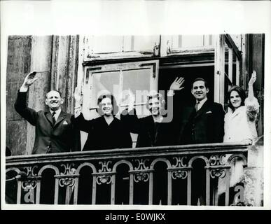 Mar. 03, 1963 - King Frederick celebrates his 64th., Birthday. prince Constantine in balcony group. King Frederick - Stock Photo