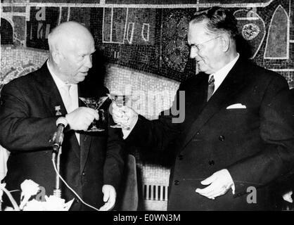 Nikita Khrushchev with Josip Broz Tito - Stock Photo