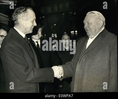 Jan. 01, 1964 - Sir Alec Greets De Erhard: The West German Chancellor Dr. Ludwig Erhard arrived in London today - Stock Photo