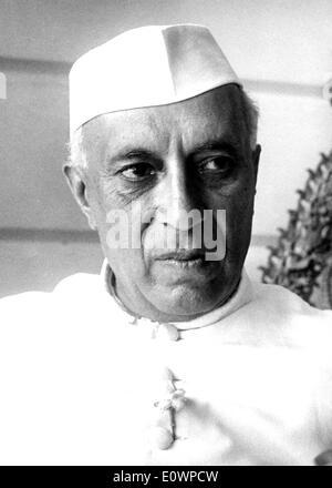 Close-up of Prime Minister of India Jawaharlal Nehru - Stock Photo