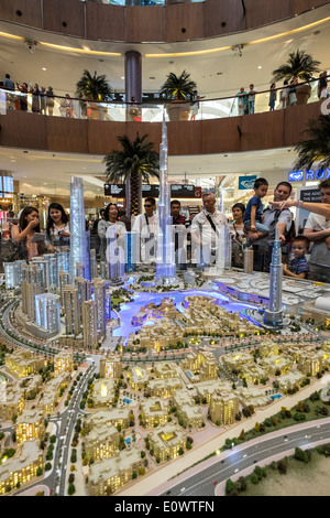 model of proposed property development with many apartment towers in Downtown Dubai by developer Emaar at Dubai - Stock Photo