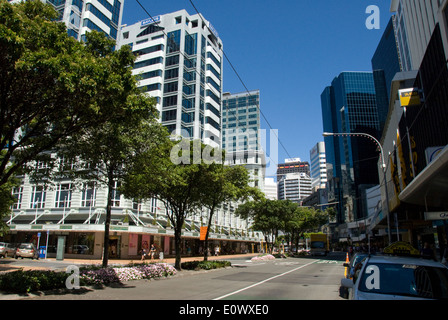 Lambton Quay, main street in Central Business District, Wellington, North Island, New Zealand - Stock Photo