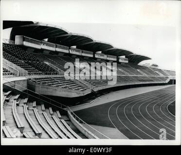 Aug. 08, 1964 - THE TOKYO OLYMPIC PARK-READY FOR THE GAMES...TRAIN-LIKE PRESS BOXES IN ATHLETIC STADIUM... Work - Stock Photo