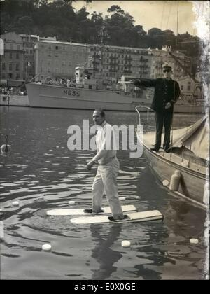 Sep. 09, 1964 - Walks On Water To Avoid Traffic Jams An insurance man from Nice, France, Pierre Constantin uses - Stock Photo