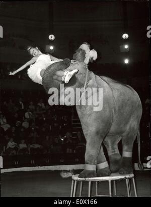 Dec. 01, 1964 - Youngest Tamer in the world: Ten year old Angelica Buckler is no doubt of German trainer Jumbo, - Stock Photo