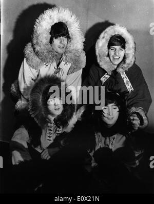 The Beatles dressed up as Eskimos - Stock Photo
