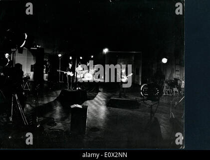 The Beatles filming a music video at EMI Studios - Stock Photo
