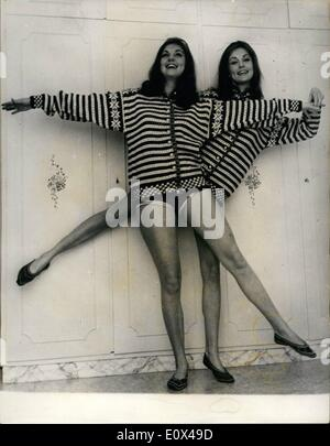 Feb. 02, 1965 - Mia and Pia Genberg the most famous twins in Rome. The German twins Mia and Pia Genberg who live - Stock Photo