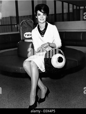 Portrait of actress Natalie Wood at an airport - Stock Photo