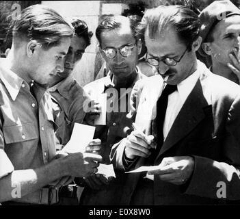 Sep 14, 1965; Tel Aviv, Israel; MENACHEM BEGIN became the the 6th Prime Minister of Israel - Stock Photo