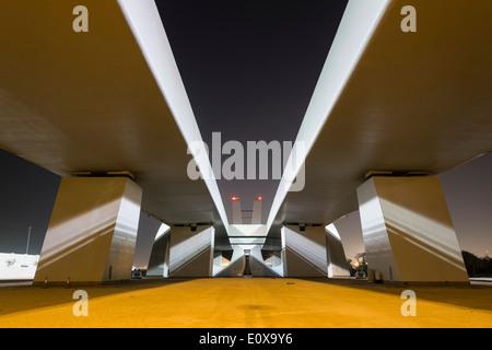 Modern Sheikh Zayed Bridge designed by Zaha Hadid in Abu Dhabi United Arab Emirates - Stock Photo