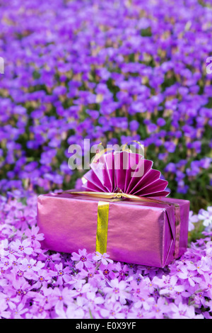 a pink present atop a sea of violett flowers - Stock Photo