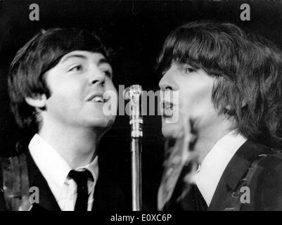 The Beatles Paul McCartney and George Harrison at a concert at Shea Stadium - Stock Photo