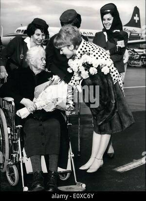 Feb. 10, 1966 - Sophie Widmer of Lenzbourg just celebrated her 103 birthday. She ended up meeting Petula Clark on - Stock Photo