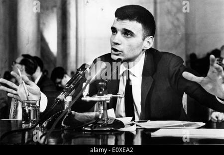 Attorney Ralph Nader speaking during a press conference - Stock Photo