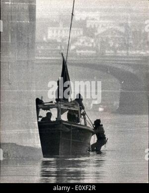 Aug. 17, 1966 - Shot Policemen: Search for murder weapon. Photo shows one of a team of river police divers , goes - Stock Photo