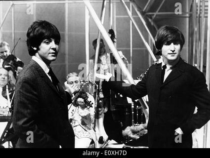 The Beatles Paul McCartney and John Lennon film TV - Stock Photo