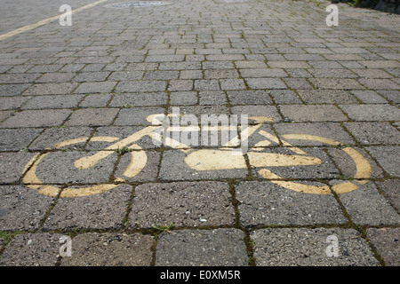 bicycle path on an old pavement,Italy - Stock Photo