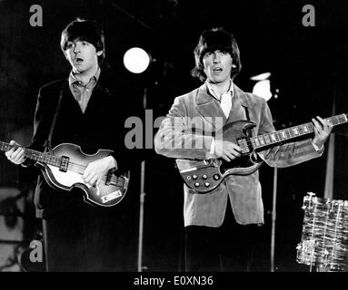 The Beatles Paul McCartney and George Harrison during the colour recording - Stock Photo