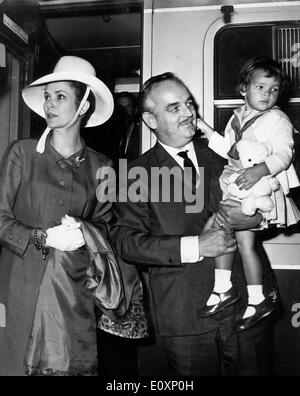 Prince Rainier his wife Grace Kelly and their daughter Princess Stephanie on their way to Canada - Stock Photo