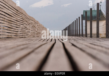 wooden bridge over Lake Zurich from Rapperswil to Pfaffikon - Stock Photo
