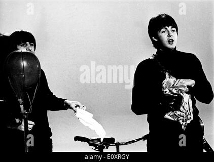 The Beatles during the break in a BBC Television special recording - Stock Photo