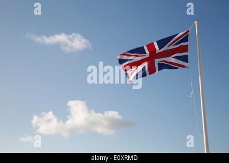 Union Jack Flag; Land's End; UK - Stock Photo