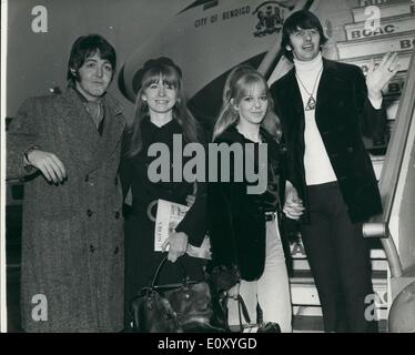 Feb. 02, 1968 - Beatles Off To India: Beatles Paul McCartney and Ringo Starr, left London Airp rt today to join - Stock Photo