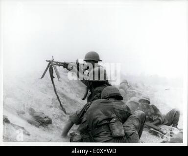 Feb. 02, 1968 - Blasting Away.. American infantrymen fire at an enemy position in the village of Anmy, 42 miles - Stock Photo