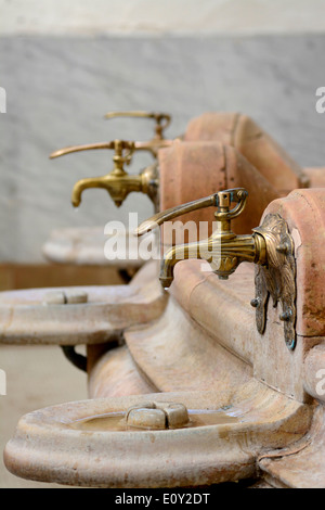 Spring water taps in the Source des Celestins, Vichy, Allier, Auvergne, France - Stock Photo