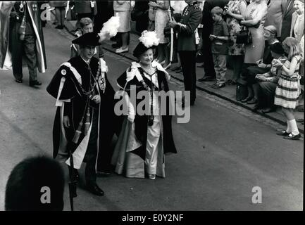 Jun. 06, 1968 - Prince Charles invested with the most nobel order of the Garter at Ancient ceremony at Windsor: - Stock Photo