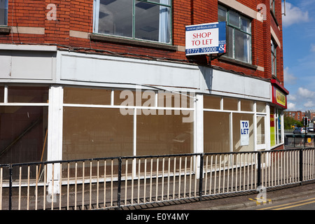 empty retail space to let in city centre Preston England UK - Stock Photo