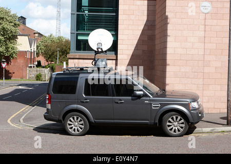 satellite news uplink on landrover vehicle in city centre Preston England UK - Stock Photo