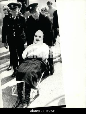 Apr. 04, 1969 - Barry Ryan arrives back home after being seriously burned in a studio accident in Munich. Pop singer - Stock Photo