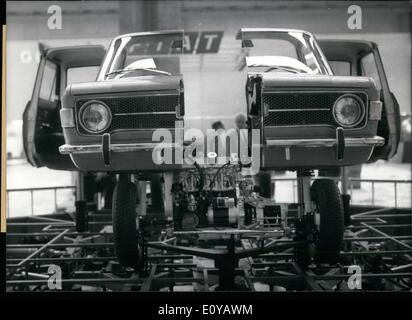 Sep. 21, 1969 - This Fiat 128 is split down the middle, disassembled like a puzzle. It could be seen at the 1969 - Stock Photo