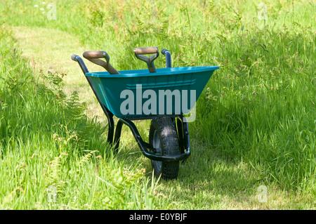 blue garden wheelbarrow in long green grass - Stock Photo