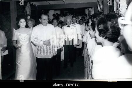 Aug. 08, 1969 - Manila, Philippines  us. President Richard Nixon escorts Mrs. Imelda Marcos, Philippines First Lady - Stock Photo