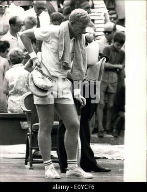 Aug. 14, 1969 - Davis Cup Tennis at Wimbledon - inter Zone Final. Great Britain Vs. Rumania. Picture Shows: A dejected - Stock Photo