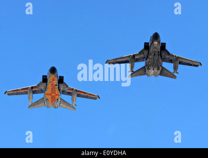 Two German Air Force Tornado fighter aircraft fly in formation at Holloman Air Force Base October 13, 2009 in Alamogordo, - Stock Photo