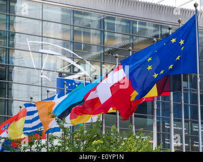 nationalRow of various European national flags at the EU parliament building in Brussels, Belgium - Stock Photo