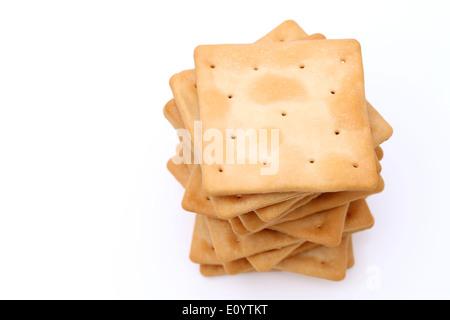 salt crackers on white background - Stock Photo