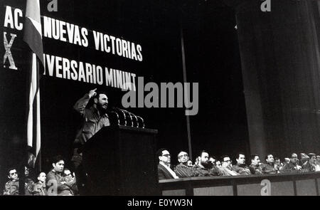 Leader Fidel Castro speaks at conference - Stock Photo