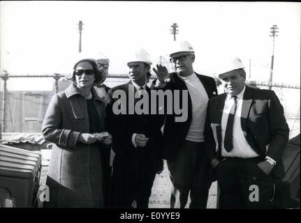Nov. 11, 1971 - The Grand Duke and Grand Duchess of Luxembourg on an official visit to the Olympic building site - Stock Photo
